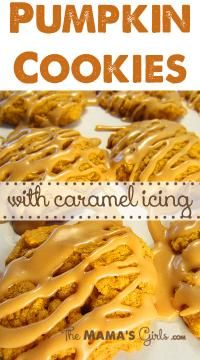 The Mama's Girls Pumpkin Cookies with Caramel Icing on MyRecipeMagic.com #cookies #pumpkin #caramel