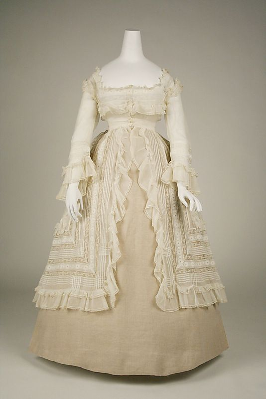 Dress 1860, French, Made of cotton