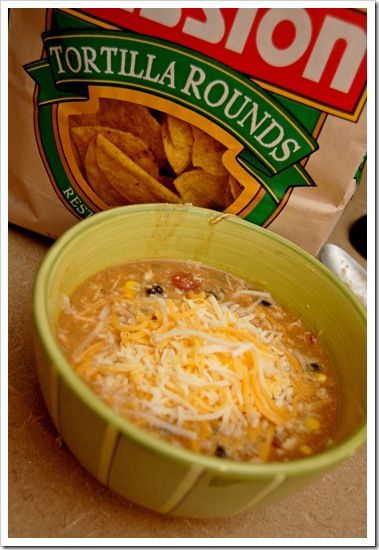 Chicken Tortilla Soup: 1 can chicken broth 1 can cream of chicken soup 2 tbsp taco seasoning 1 can diced tomatoes 1 can black beans 1 can whole kernel corn 1 can diced green chiles 3-4 chicken breasts, cooked & shredded