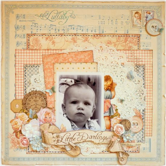 Little Darlings Graphic 45 Scrapbook layout vintage baby