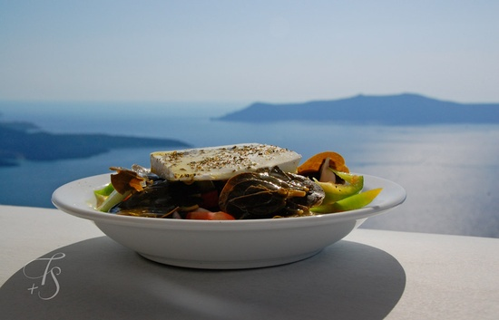 Greek salad. Travel+Style.  #Santorini #Greece #romantic #Island #food