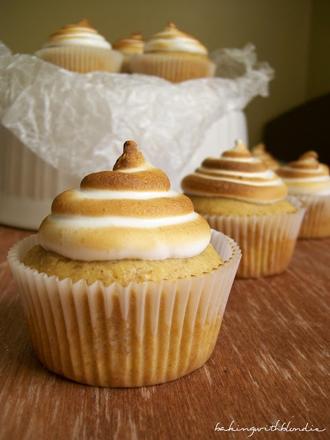 Sweet Potato Cupcakes with Toasted Marshmallow Frosting by bakingwithblondie #Cupcake #Sweet_Potato #Marshmallow