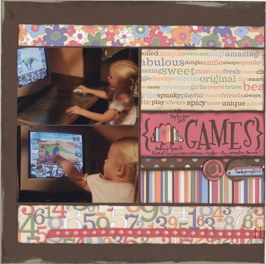Games scrapbook layout