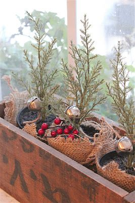 Christmas Tablescape table top decoration - faux tree saplings make a very natural and organic decor