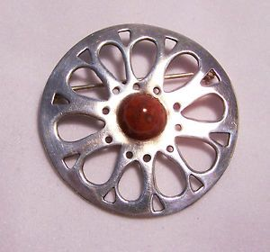 Modernist Sterling Silver Pin Round Brooch Cut Work Design Red Stone Agate 628