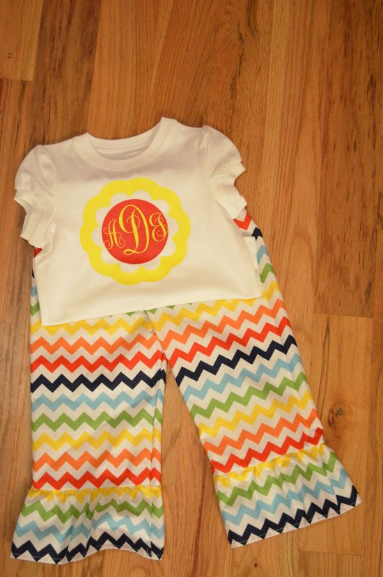 Multi Chevron Ruffle Pants with Appliqued monogram Shirt/ Girls Chevron Outfit. $45.00, via Etsy.
