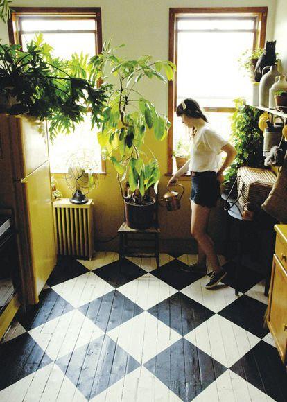 Painted floor, plants.
