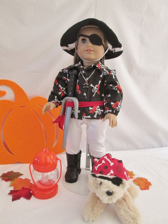 Doll Pirate CostumeAmerican Girl Doll/18 by diamonddollyboutique, $35.00