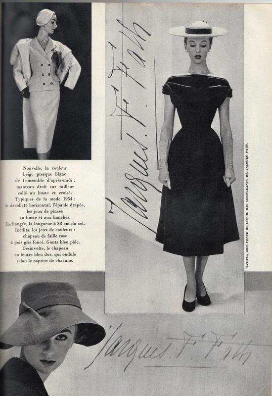 Elegant looks from designer Jacques Fath, 1950. #vintage #1950s #fashion
