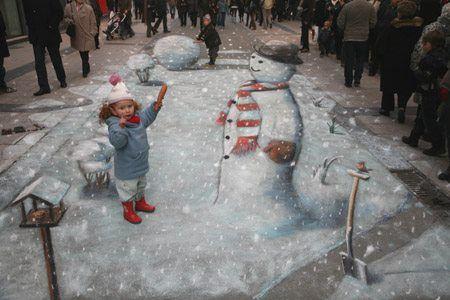 winter wonderland 3D street art
