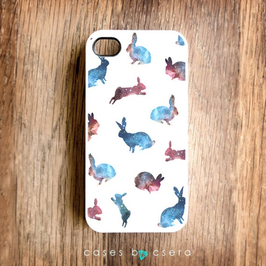 CUTE iPhone 4 Case, Galaxy Print Rabbits - iPhone 5 Case, iPhone 4 Case, iPhone Cover Rabbit iPhone Case iPhone 4S Case Galaxy iPhone 4 Case. $19.99, via Etsy.
