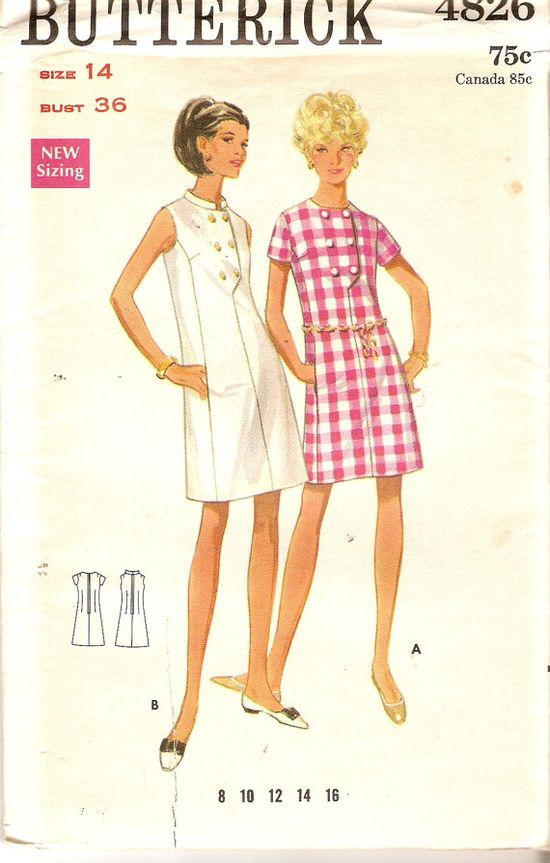1960s Misses One Piece Dress Pattern Bust 36 by CherryCorners,