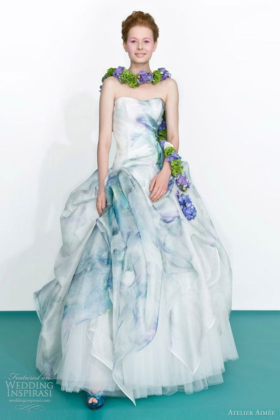 blue print wedding dress, romantic, pretty! atelier aimee 2013 floral print ball gown
