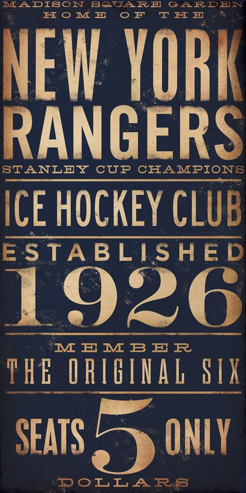 I'm such a sucker for the typography // New York Rangers hockey club graphic