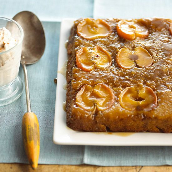 Use harvest-fresh apples make this tasty Apple Upside-Down Cake. More irresistible apple desserts: www.bhg.com/...