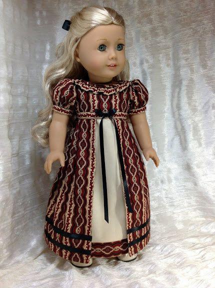 1812 red and black Regency dress for Caroline by DollSizeDesigns