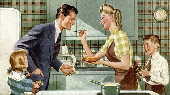 The age old job of keeping the family happy and well fed. #vintage #1940s #family #mom #homemaker #soup #food #housewife #kitchen
