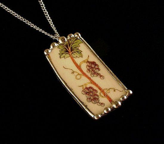 Broken china jewelry rectangular pendant necklace antique grapes grapevine vintage
