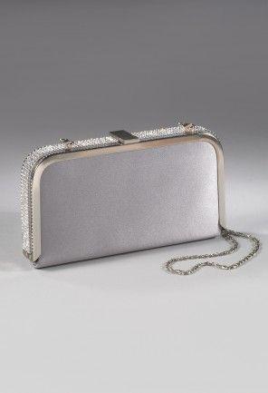 "Metal box handbag with rhinestone border features:•Satin covered frame•22""metal chain strap•Rhinestone border•Stone top closure"
