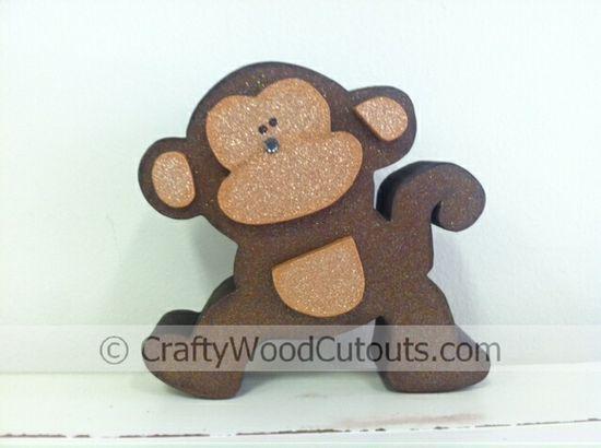 Monkey Animal Wood Craft Home Decor from Crafty Wood Cutouts