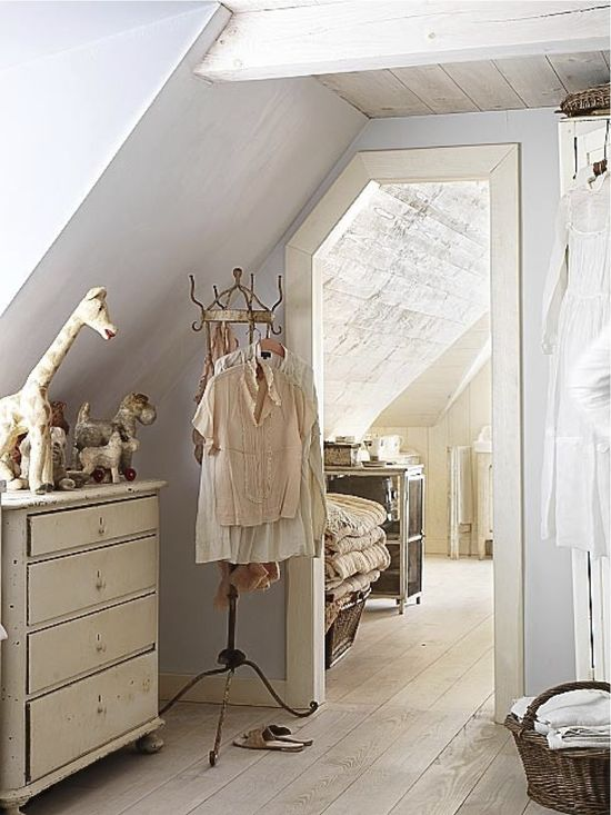 Attic bedroom - I have bedroom walls and door jambs just like this. Pleasing to the eye but hard to work with.