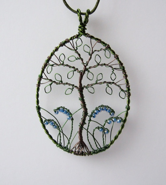 Bluebell Wood wire wrapped and beaded tree pendant