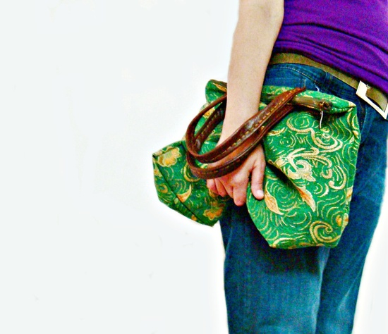 Zip Tote Green Gold Hand Bag with Hand stitched  Real Leather Handles. $56.00, via Etsy.