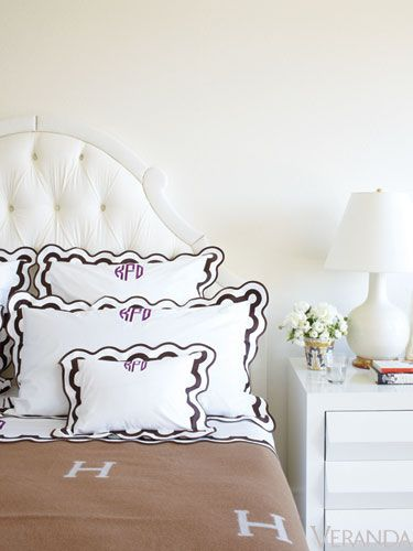 Mirasol linens with monogram.