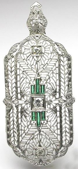 ~ Edwardian Platinum & 14K White Gold Diamond Pin