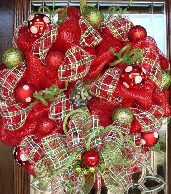 a deco mesh Christmas wreath
