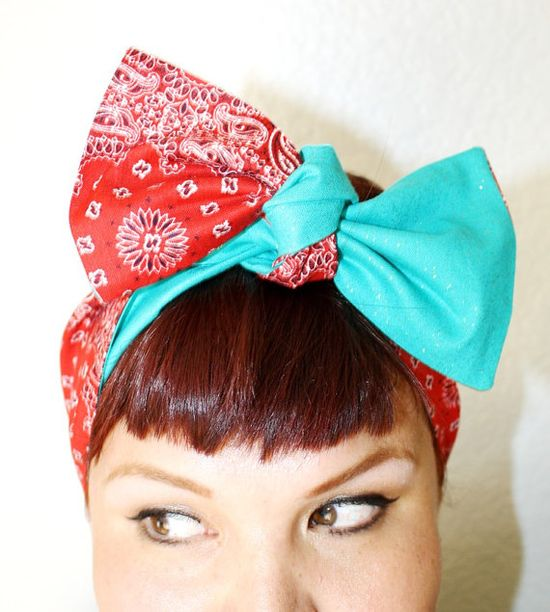 Vintage Inspired Head Scarf Reversible Sparkle Red by OhHoneyHush, $19.00