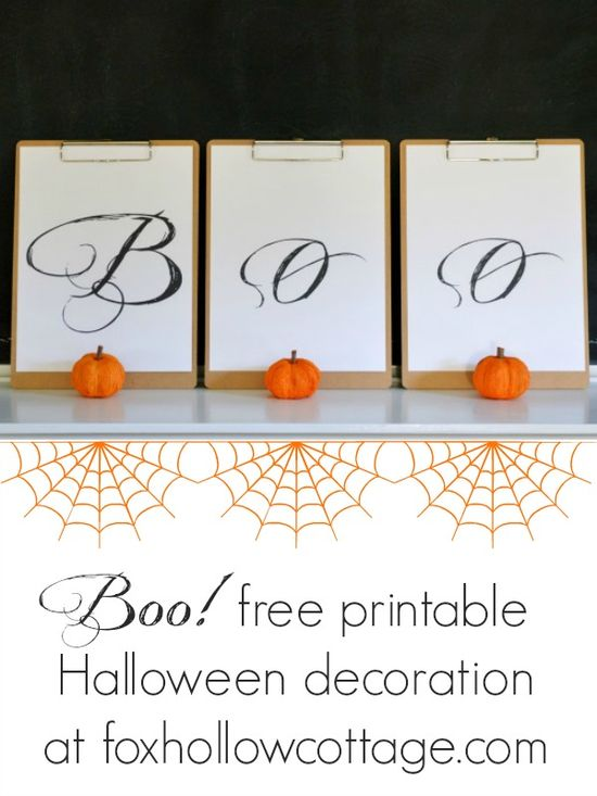 BOO free printable Halloween decoration at www.foxhollowcott... #Halloween #printable