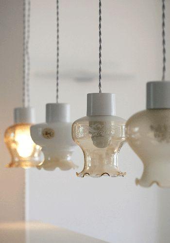 Vintage Re-Purposed Pendant Lamps from British ceramist Kathleen Hills