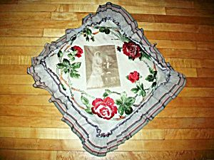 Victorian Pillow with Wedding Photo and Embroidery