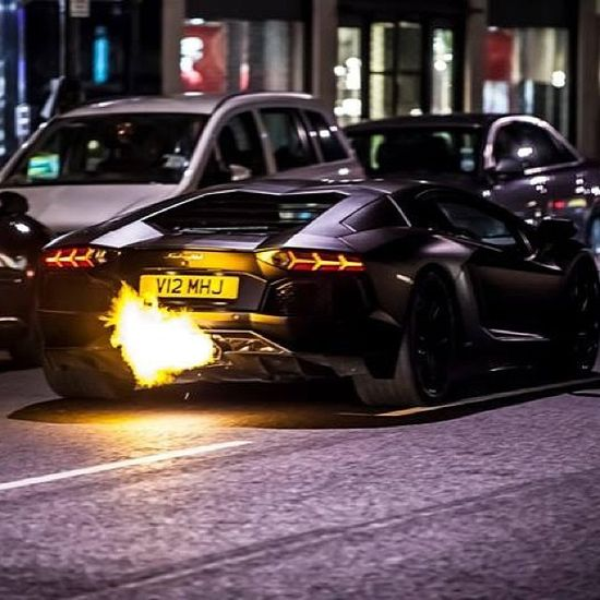 Flaming Lamborghini Aventador #car #black