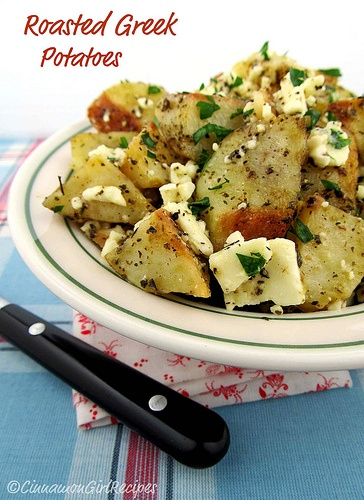 Roasted Greek Potatoes with Feta and Lemon
