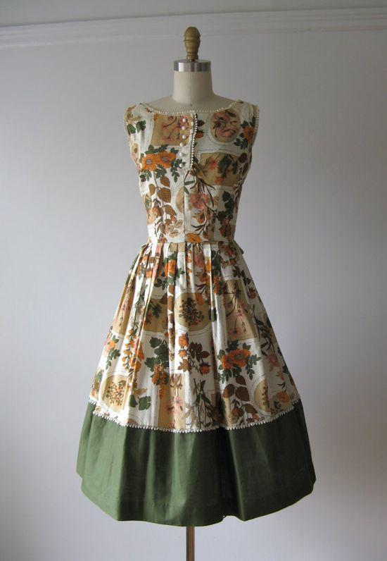 vintage 1950s dress / Garden Joy