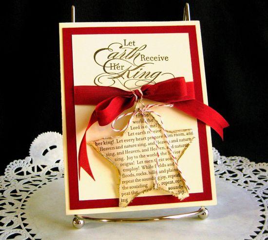 Christmas Card Handmade  Joy to the World on Shabby Chic Star.