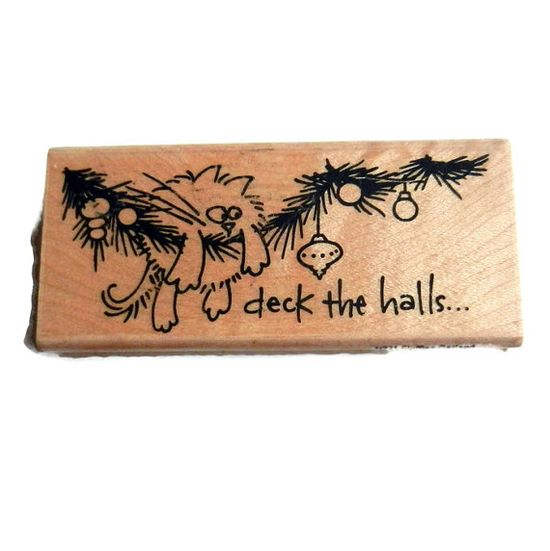 Deck the Halls Rubber Stamp Cat in by CloudNineSupplyShop on Etsy, $8.00