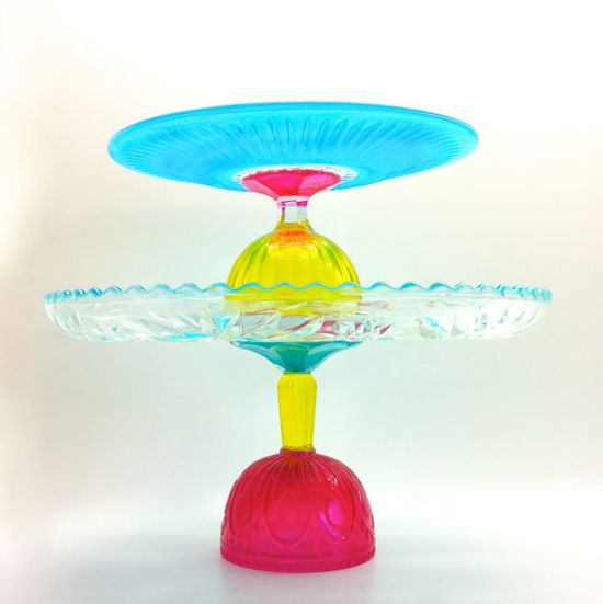 Two Cake Stands in Hot Pink Aqua and Yellow by MarshHome on Etsy, $78.00