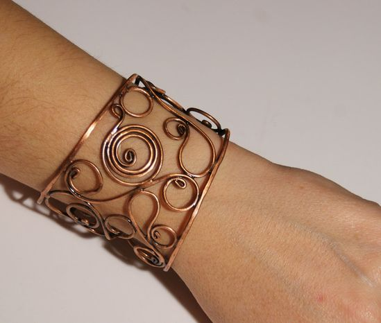 copper bangle jewelry- copper wire wrapped Bracelet-cuff bracelet-wire wrapped jewelry handmade-copper jewelry-valentine's day gift. $32.00, via Etsy.