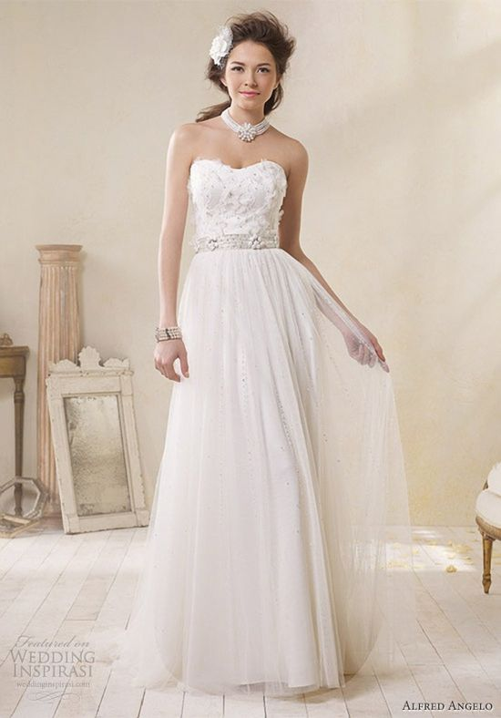 alfred angelo modern vintage bridal strapless wedding dress 8500