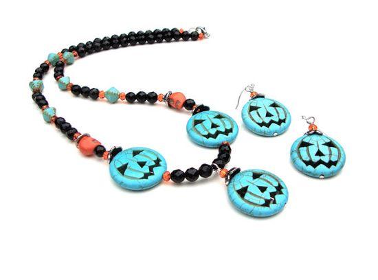 Halloween jack o lantern necklace  pumpkin by sparklecityjewelry, $35.00