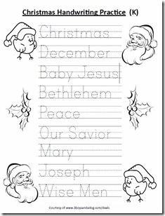 Free Kindergarten Christmas Handwriting worksheet