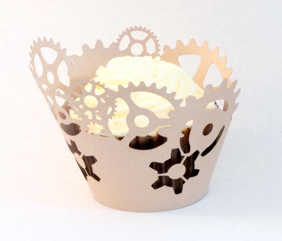 custom order clockwork cupcake wrapper on metallic paper x 60. $60.00, via Etsy.