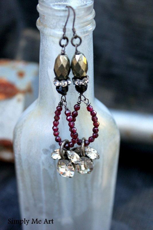 Vintage Rhinestone, Ruby, Pyrite and Onyx Dangling One of a Kind Earring.. Luster. $61.00, via Etsy.