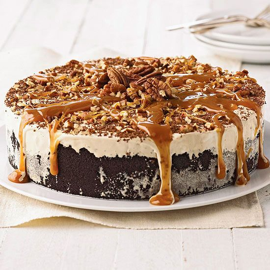 Coffee-Mallow Torte - Go nuts over our frozen chocolate-marshmallow torte topped with pecans and drizzled in creamy caramel. More frozen dessert recipes: www.bhg.com/...