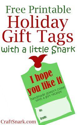 Snarky Printable Gift Tag for Handmade Gifts