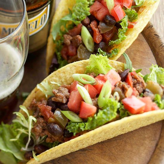 Craving Mexican food? Easily whip up these Zesty Beef tacos! More fuss-free ground beef recipes: www.bhg.com/...