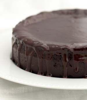 Dark chocolate zucchini cake with ganache glaze